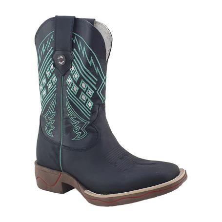 Bota Masculina Bico Quadrado cor Preta Texas Boots 10006