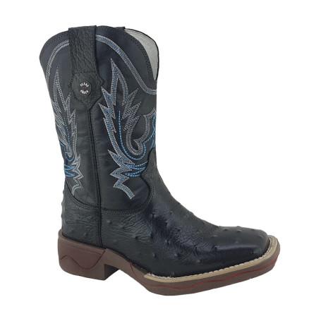 Bota Masculina Bico Quadrado Réplica de Avestruz cor Preta Texas Rodeo 10353