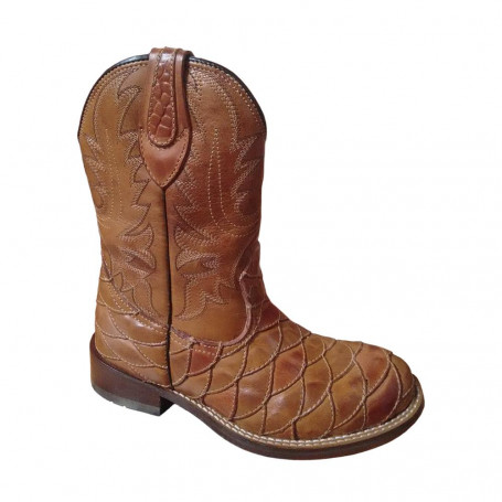 Bota Unissex Western Bico Redondo Whisky Escamada Passo Livre - Nashville 423