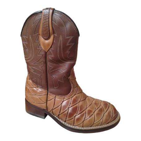 Bota Unissex Western Bico Redondo Whisky Cano Chocolate Escamada Passo Livre - Nashville 423