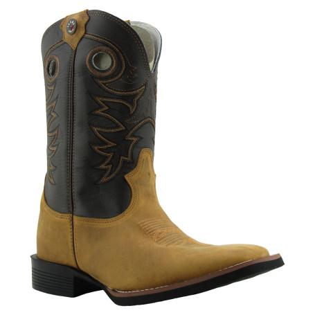 Bota Masculina Western Bico Quadrado Mostarda / Marrom Texas Boots 8910