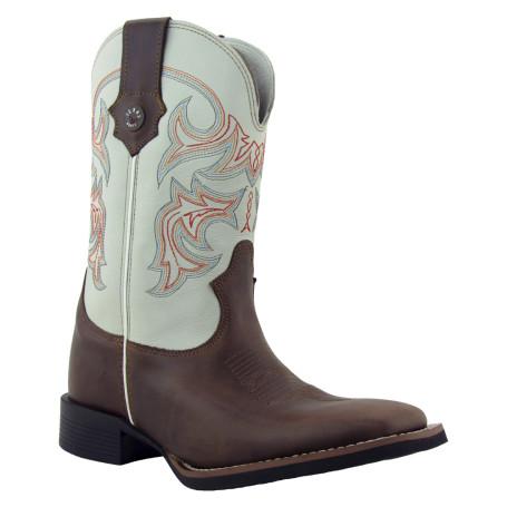 Bota Masculina Western Bico Quadrado Angico / Marfim Texas Rodeo 8960