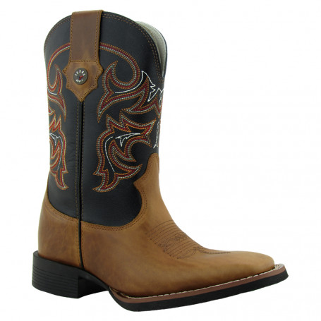 Bota Masculina Western Bico Quadrado Canela / Preto Texas Rodeo 8961