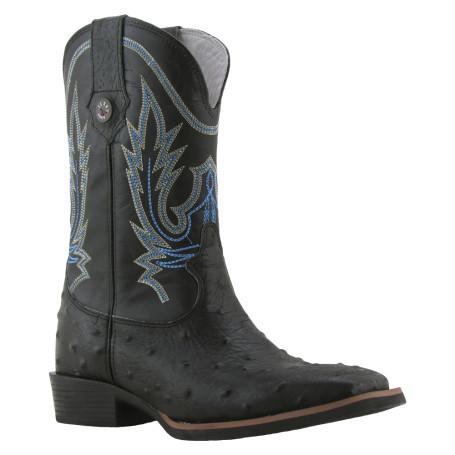 Bota Masculina Réplica de Avestruz Bico Quadrado Preto Texas Boots cod 9020