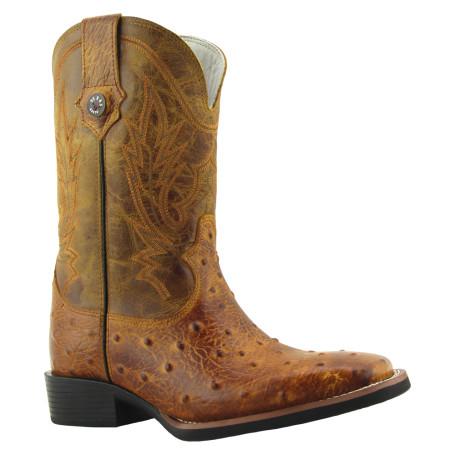Bota Masculina Réplica de Avestruz Bico Quadrado Conhaque com Mostarda Texas Boots cod 9021