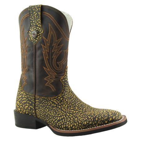 Bota Masculina Réplica de Girafa Bico Quadrado Mostarda e Marrom Texas Boots cod 9026