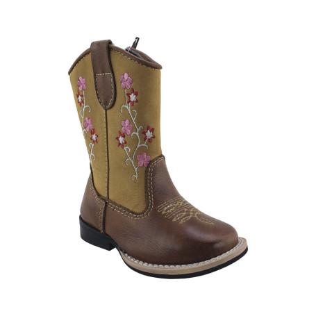 Bota Infantil Jolimar Unissex Chocolate com Areia e flor Pink 9224