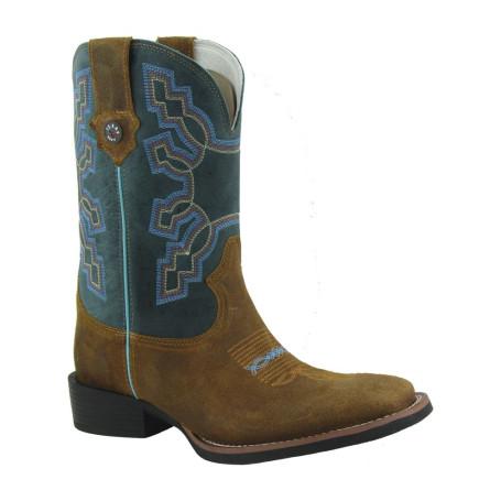 Bota Masculina Western Bico Quadrado Mostarda Marinho Texas Rodeo 9741